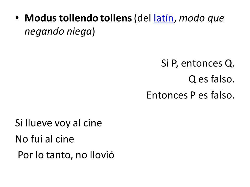 Modus tollendo tollens (del latín, modo que negando niega)