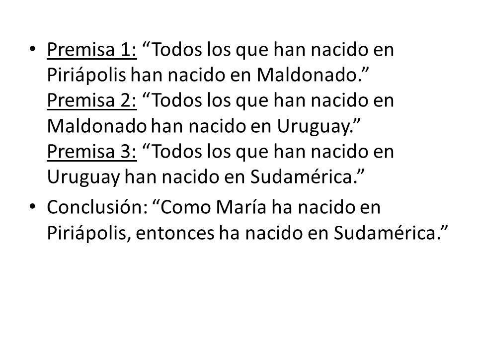 Premisa 1: Todos los que han nacido en Piriápolis han nacido en Maldonado. Premisa 2: Todos los que han nacido en Maldonado han nacido en Uruguay. Premisa 3: Todos los que han nacido en Uruguay han nacido en Sudamérica.