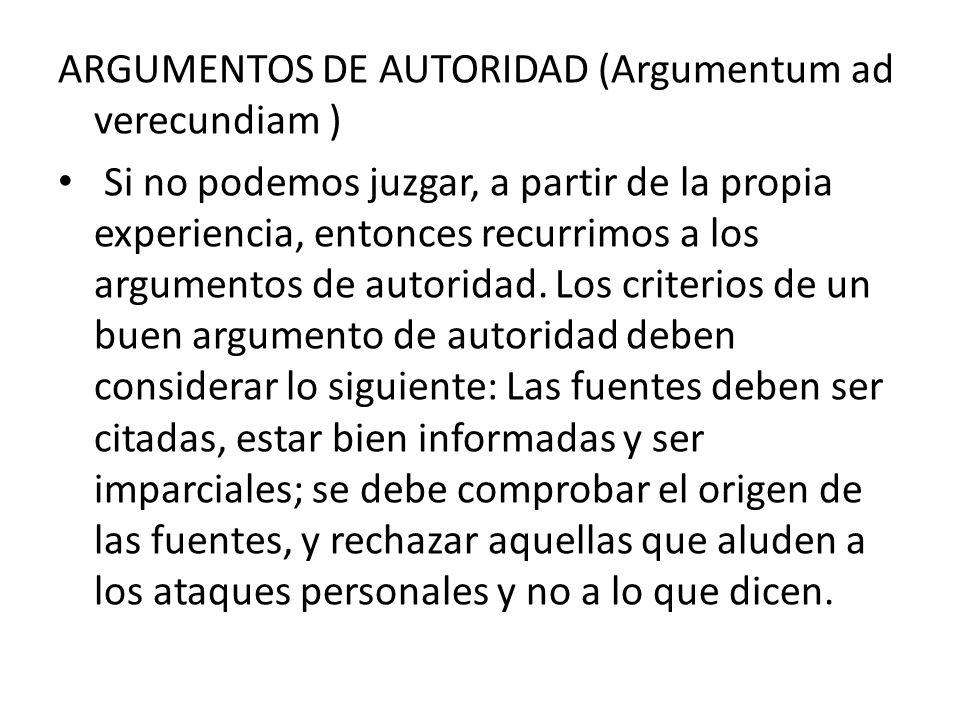 ARGUMENTOS DE AUTORIDAD (Argumentum ad verecundiam )