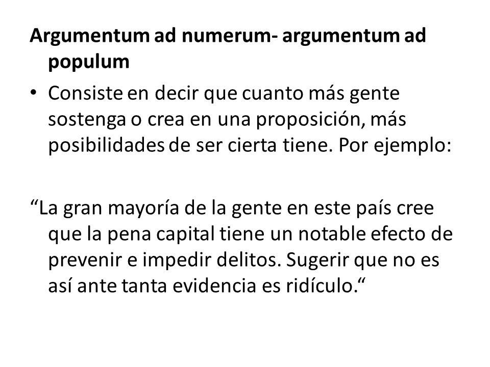Argumentum ad numerum- argumentum ad populum