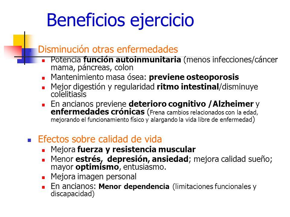 Beneficios ejercicio Disminución otras enfermedades