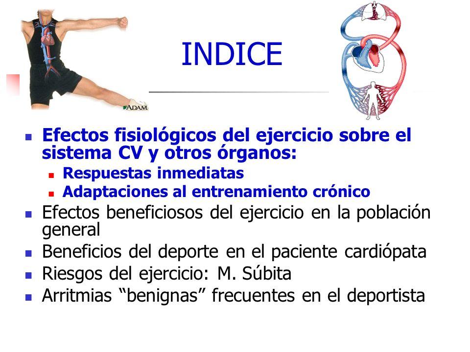 INDICE INDICE. Efectos fisiológicos del ejercicio sobre el sistema CV y otros órganos: Respuestas inmediatas.