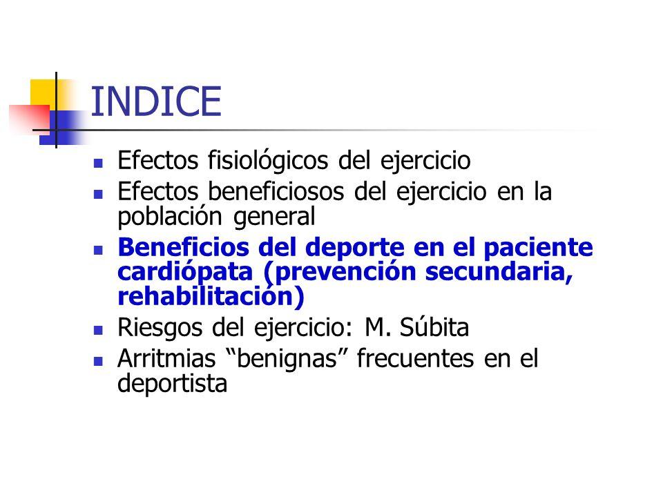 INDICE Efectos fisiológicos del ejercicio
