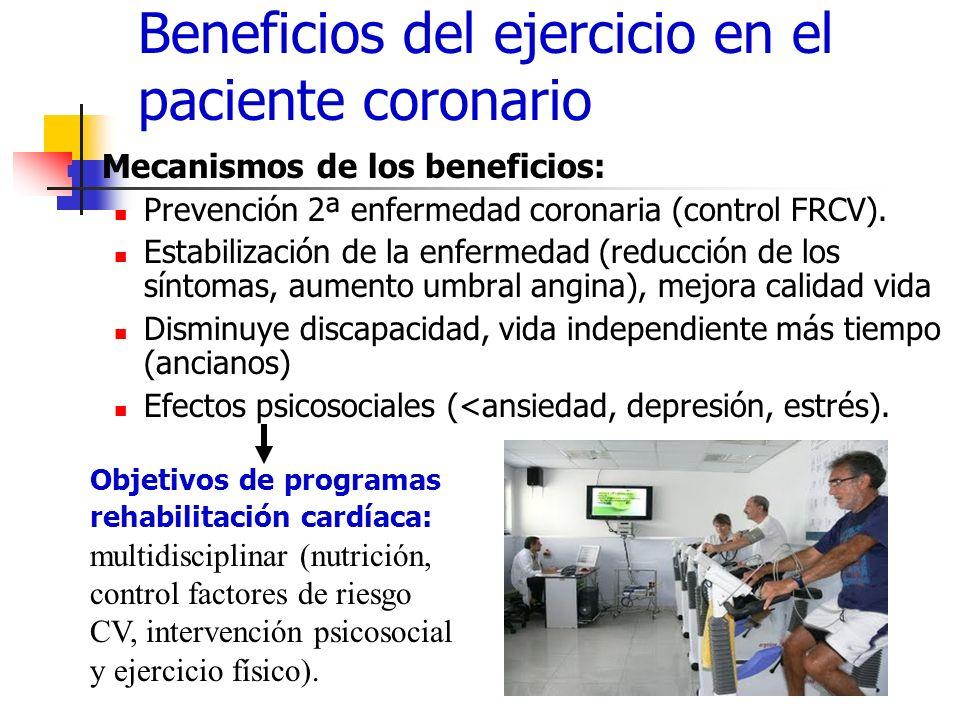 Beneficios del ejercicio en el paciente coronario