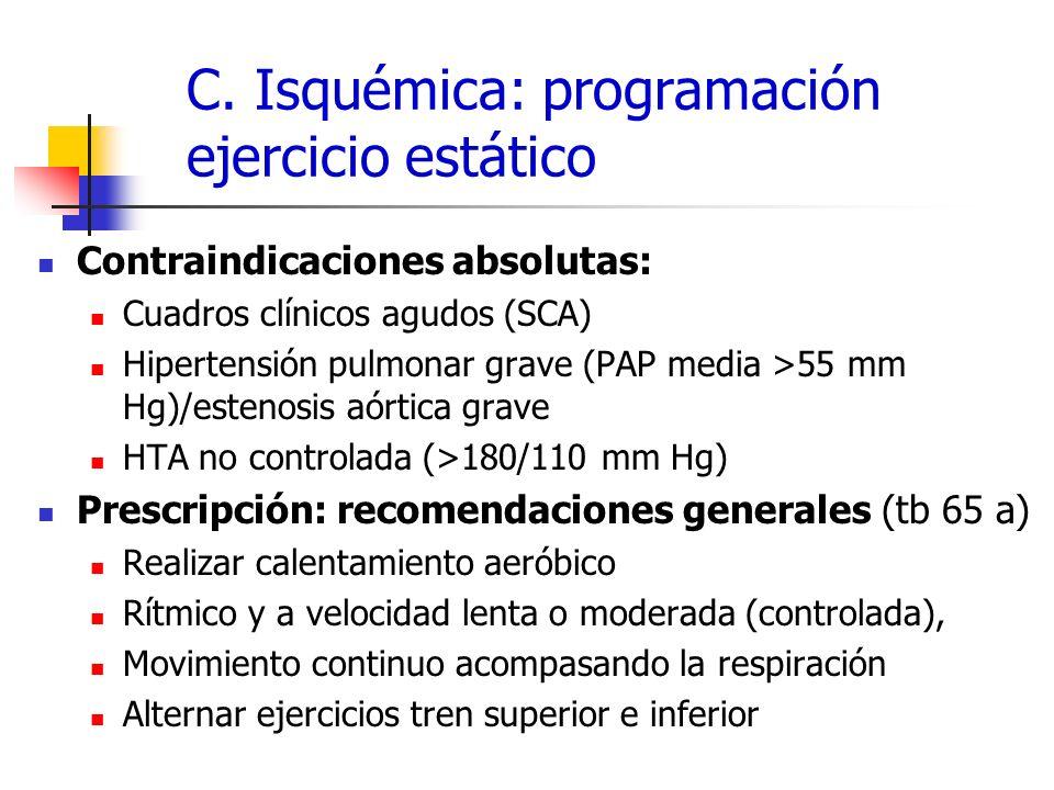 C. Isquémica: programación ejercicio estático