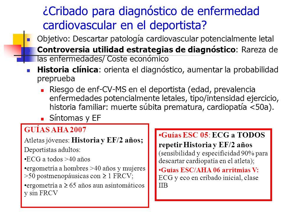 ¿Cribado para diagnóstico de enfermedad cardiovascular en el deportista