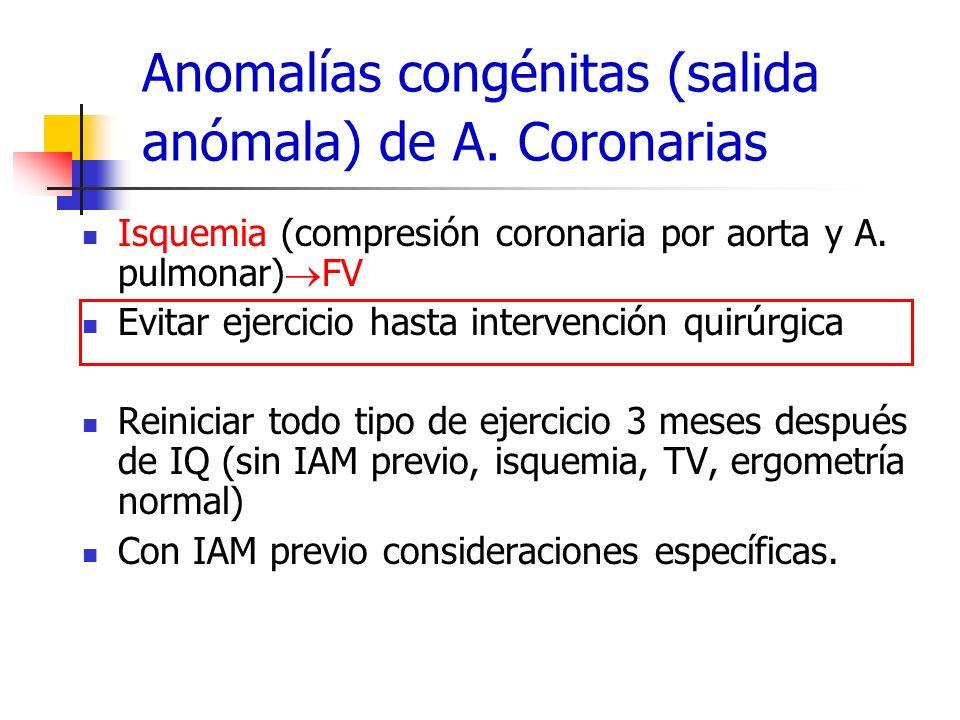 Anomalías congénitas (salida anómala) de A. Coronarias