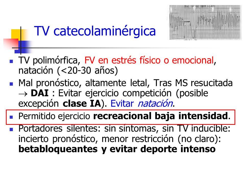 TV catecolaminérgica TV polimórfica, FV en estrés físico o emocional, natación (<20-30 años)