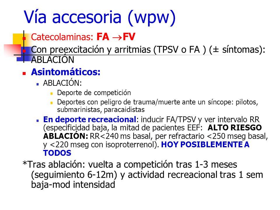 Vía accesoria (wpw) Catecolaminas: FA FV