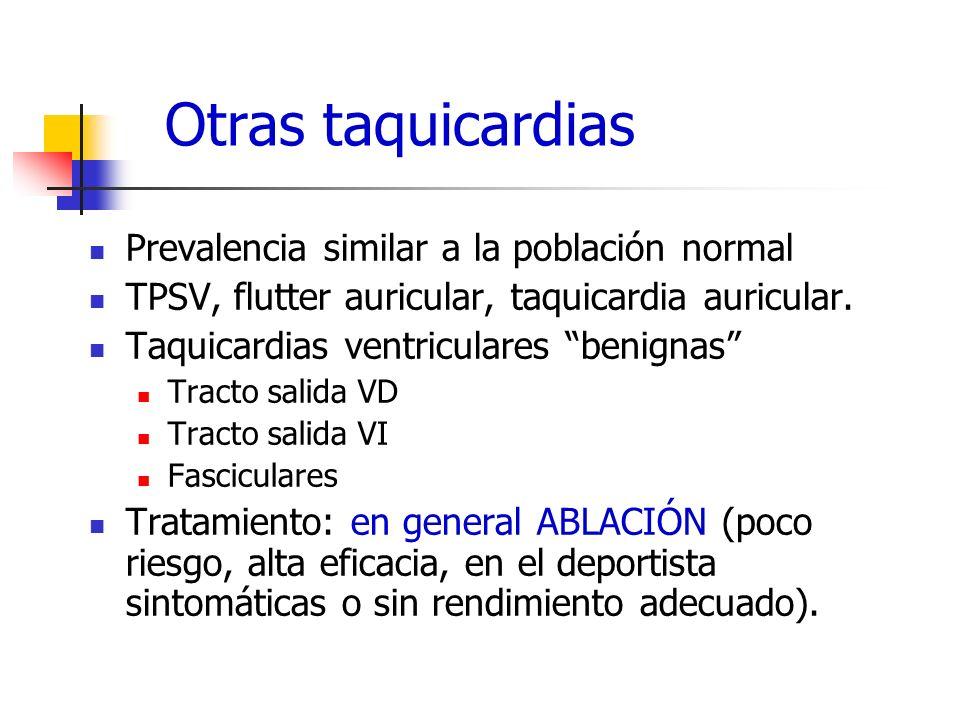 Otras taquicardias Prevalencia similar a la población normal