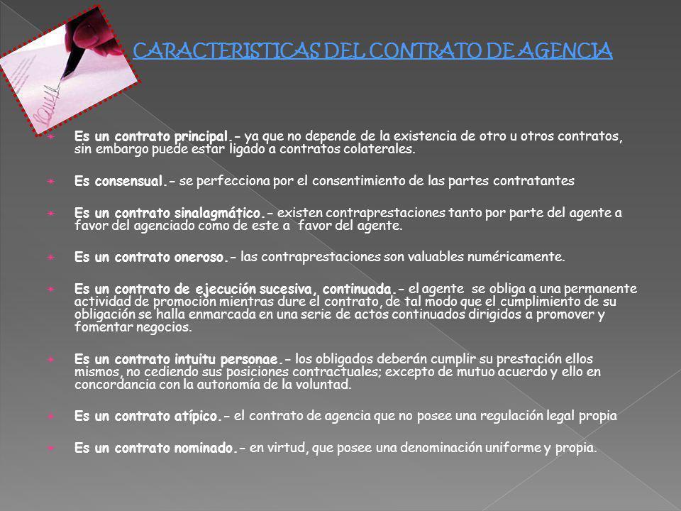 CARACTERISTICAS DEL CONTRATO DE AGENCIA