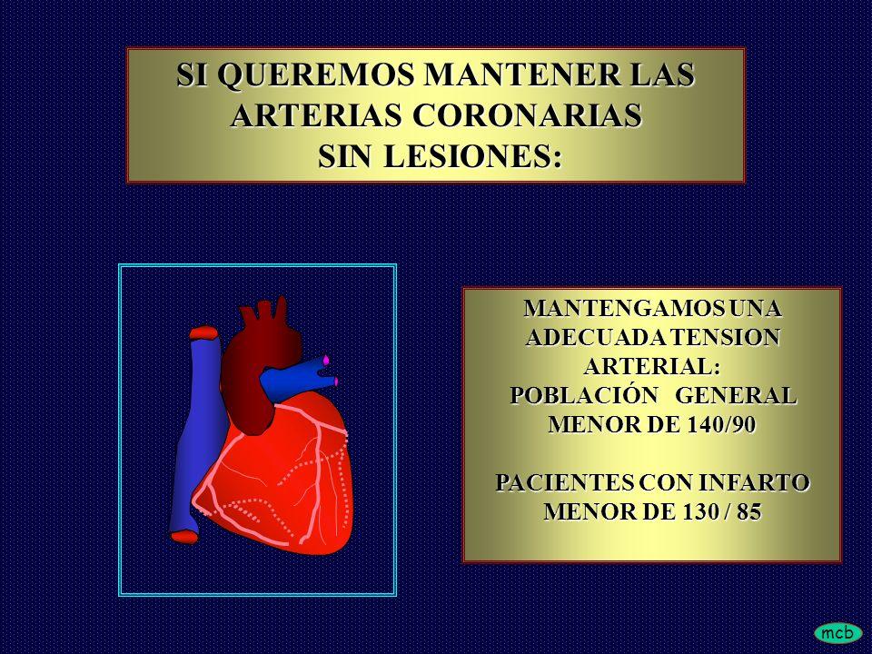 SI QUEREMOS MANTENER LAS ARTERIAS CORONARIAS SIN LESIONES: