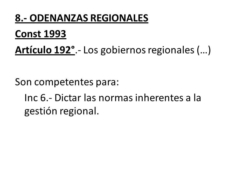 8.- ODENANZAS REGIONALES
