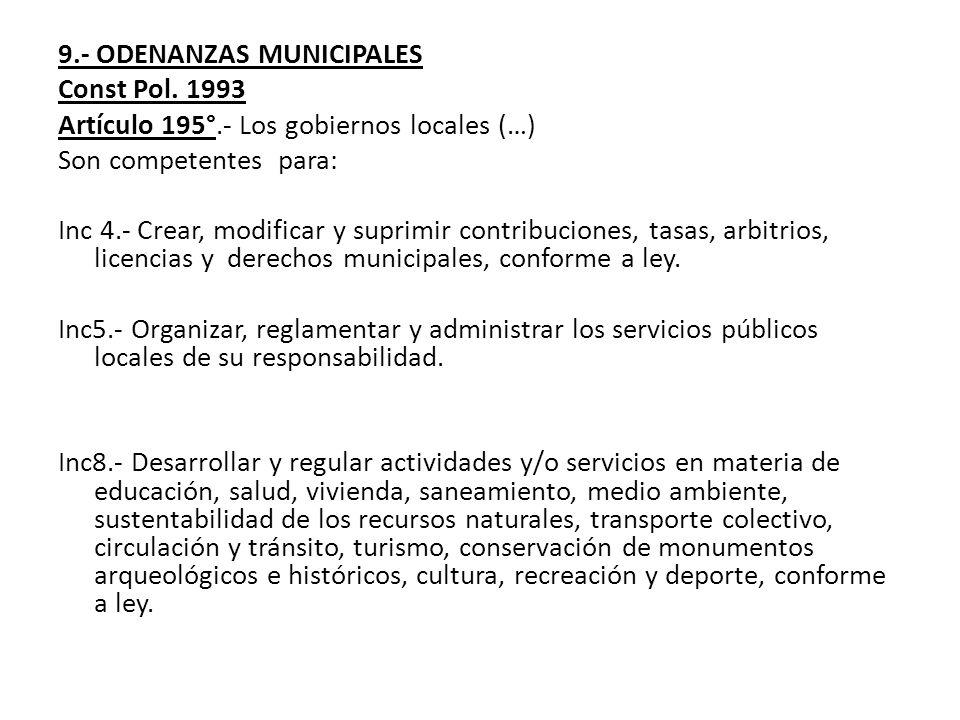 9.- ODENANZAS MUNICIPALES
