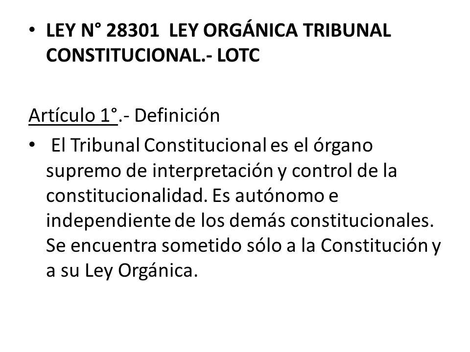 LEY N° 28301 LEY ORGÁNICA TRIBUNAL CONSTITUCIONAL.- LOTC