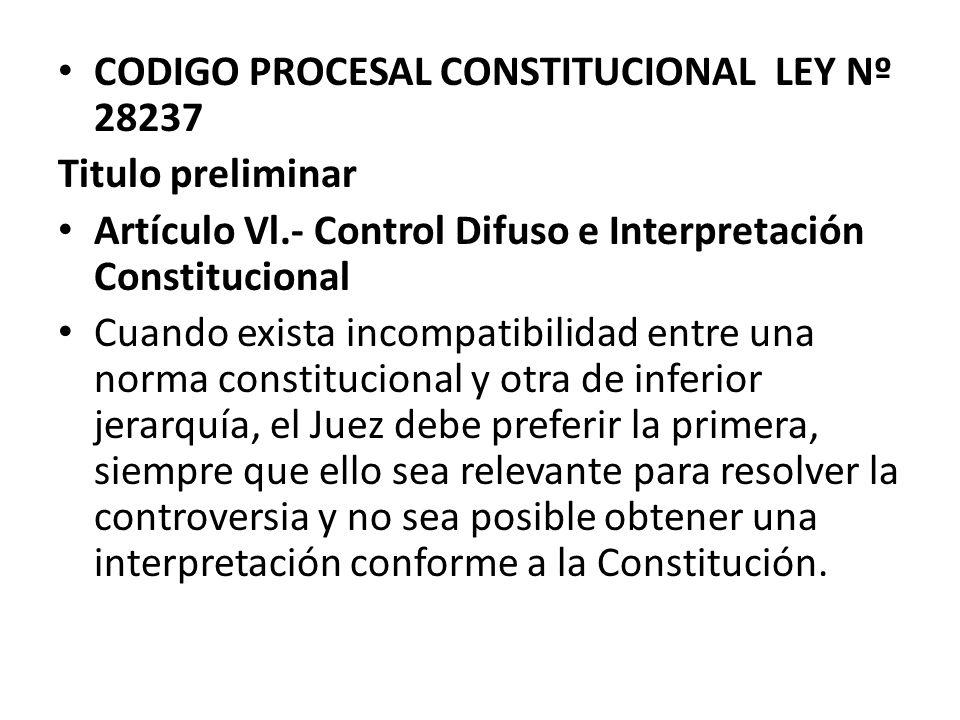 CODIGO PROCESAL CONSTITUCIONAL LEY Nº 28237