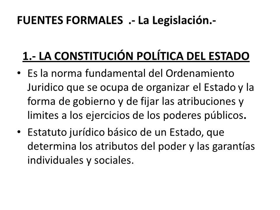 FUENTES FORMALES .- La Legislación.-