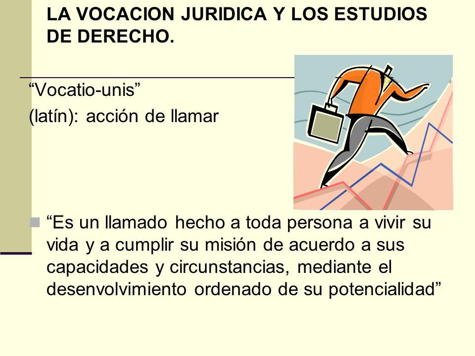 LA VOCACION JURIDICA Y LOS ESTUDIOS DE DERECHO.