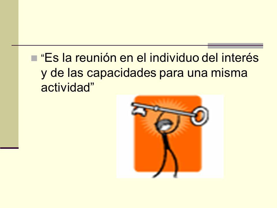 Es la reunión en el individuo del interés y de las capacidades para una misma actividad