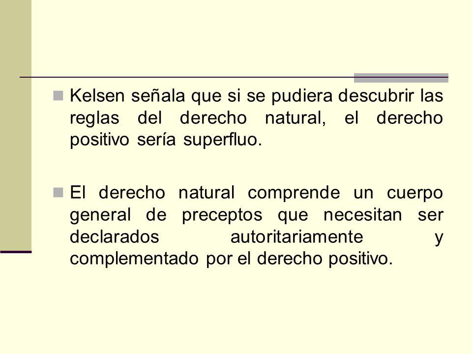 Kelsen señala que si se pudiera descubrir las reglas del derecho natural, el derecho positivo sería superfluo.