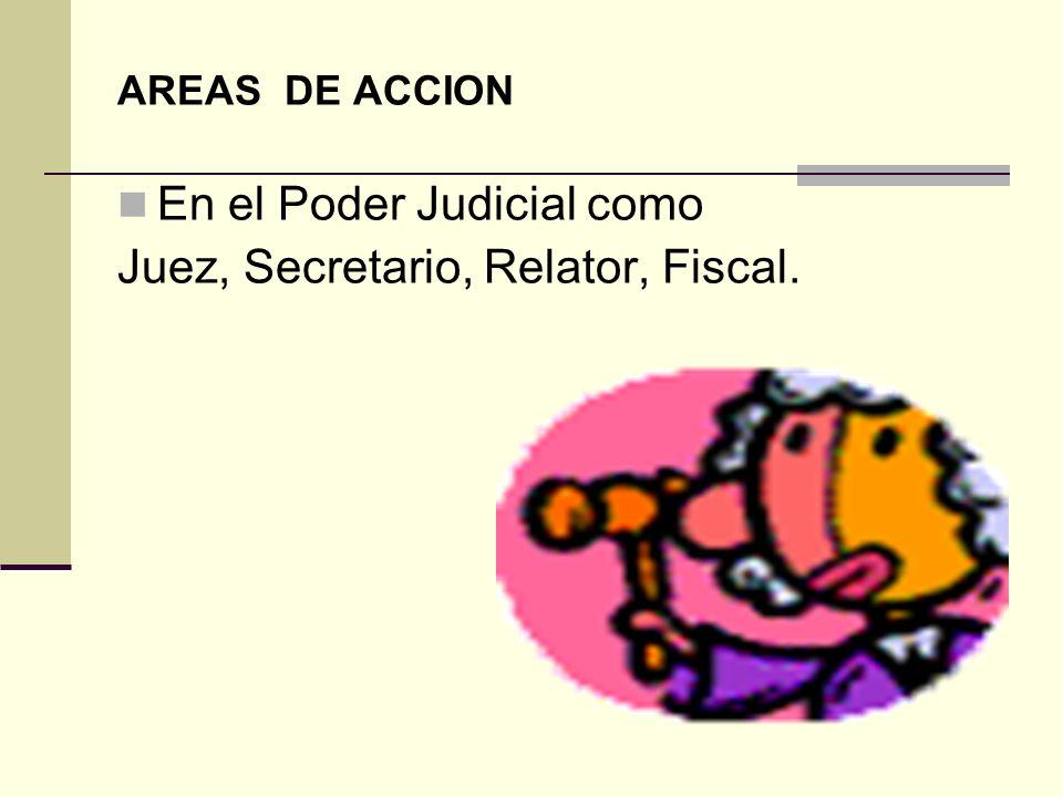 En el Poder Judicial como Juez, Secretario, Relator, Fiscal.