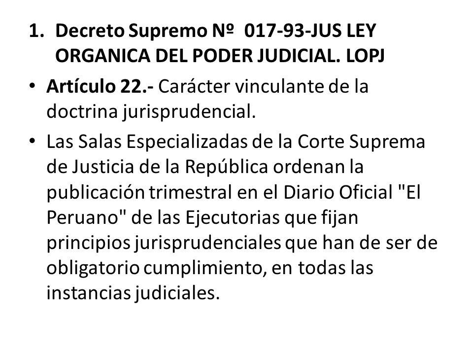 Decreto Supremo Nº 017-93-JUS LEY ORGANICA DEL PODER JUDICIAL. LOPJ