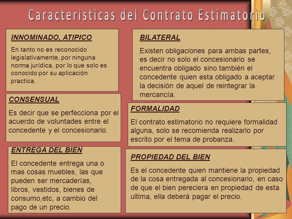 Caracteristicas del Contrato Estimatorio