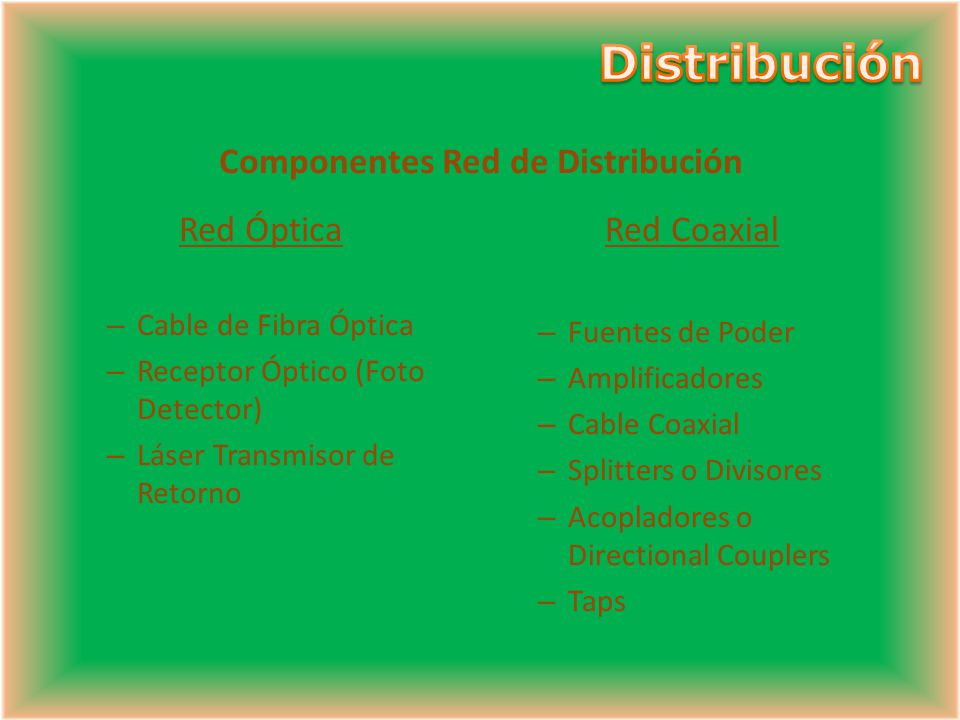 Componentes Red de Distribución