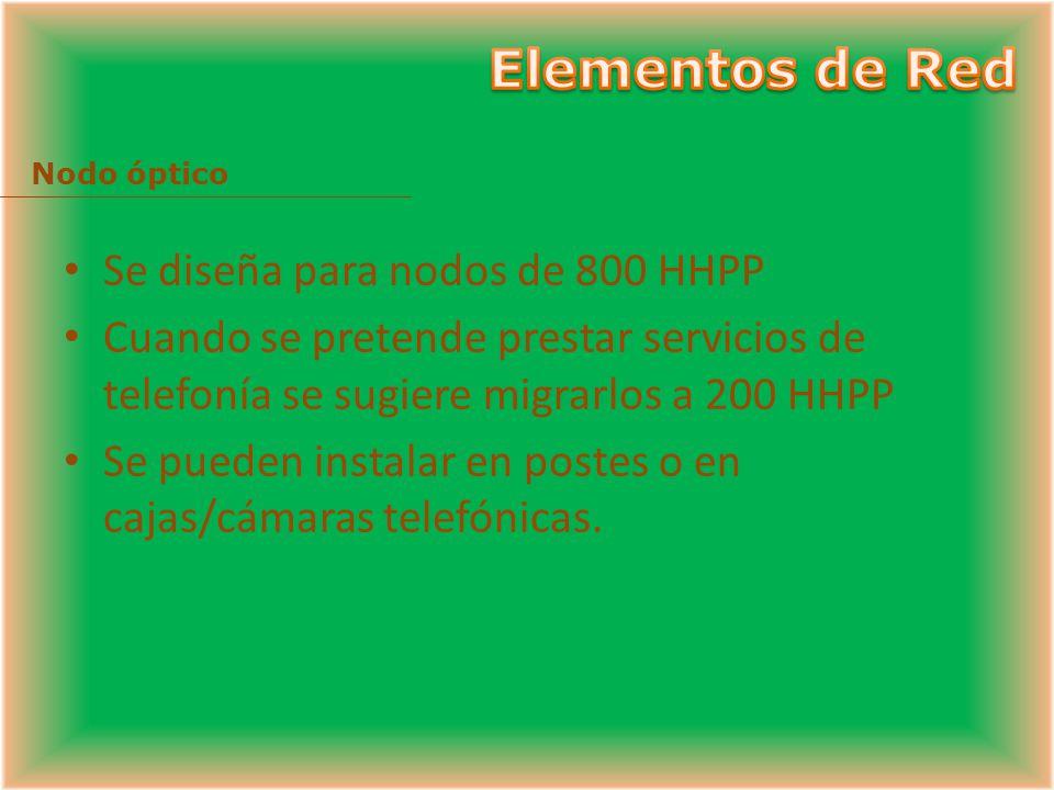 Elementos de Red Se diseña para nodos de 800 HHPP