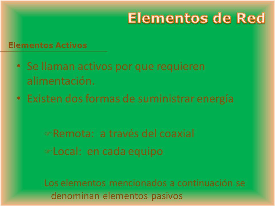 Elementos de Red Se llaman activos por que requieren alimentación.