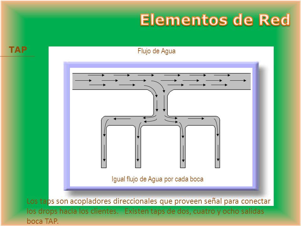 Elementos de Red TAP. Flujo de Agua. Igual flujo de Agua por cada boca.