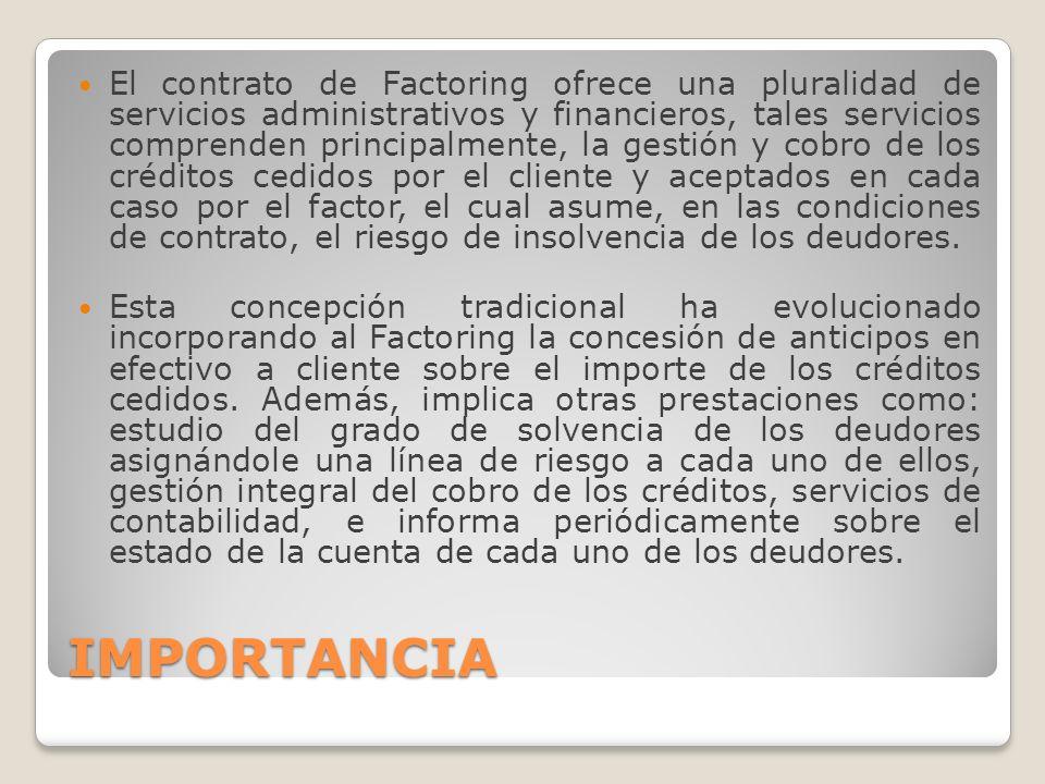 El contrato de Factoring ofrece una pluralidad de servicios administrativos y financieros, tales servicios comprenden principalmente, la gestión y cobro de los créditos cedidos por el cliente y aceptados en cada caso por el factor, el cual asume, en las condiciones de contrato, el riesgo de insolvencia de los deudores.