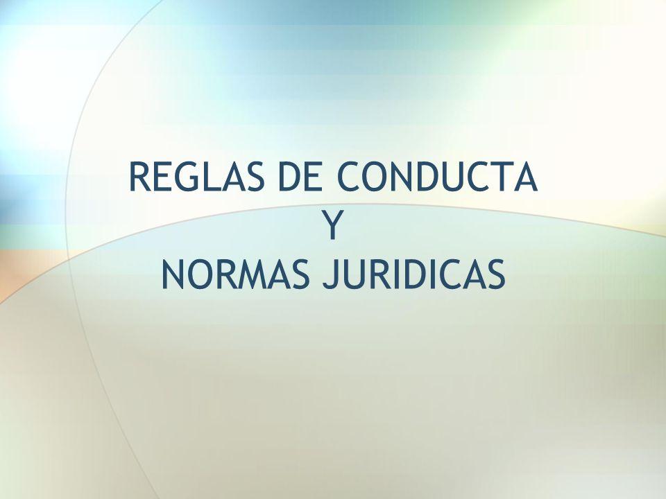 REGLAS DE CONDUCTA Y NORMAS JURIDICAS