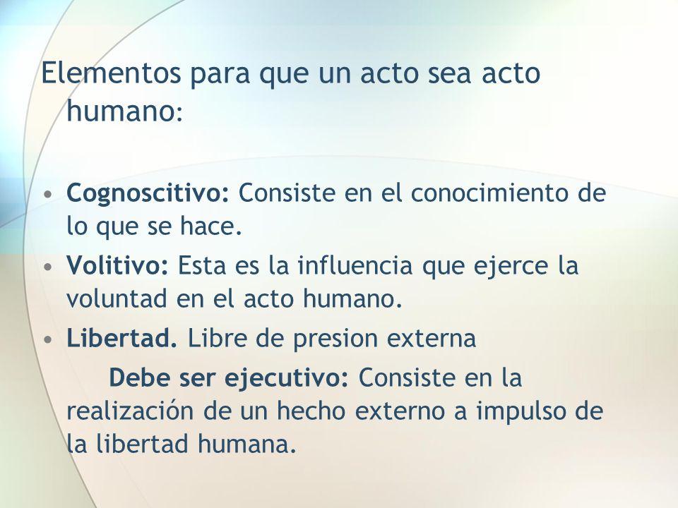 Elementos para que un acto sea acto humano: