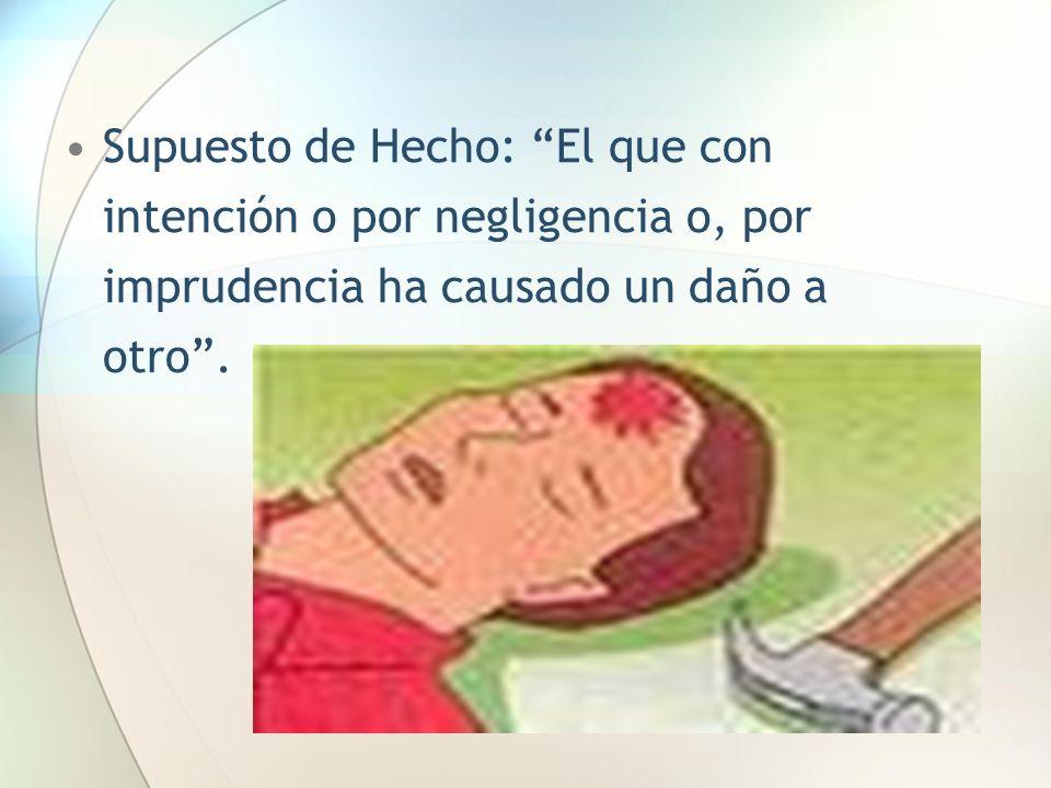 Supuesto de Hecho: El que con intención o por negligencia o, por imprudencia ha causado un daño a otro .