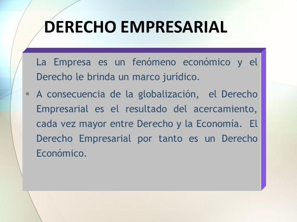 DERECHO EMPRESARIAL La Empresa es un fenómeno económico y el Derecho le brinda un marco jurídico.