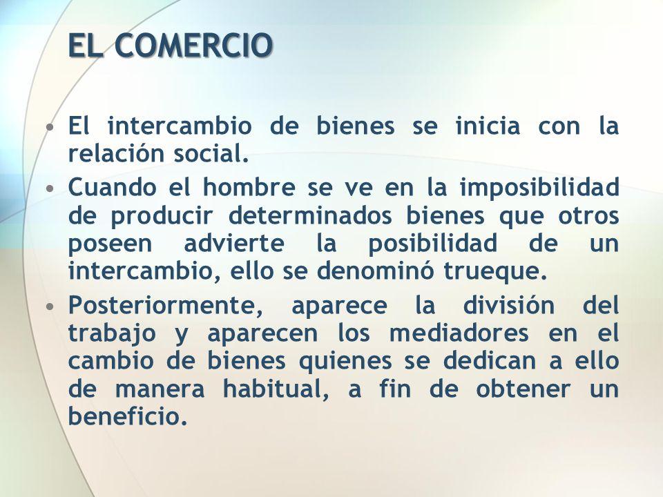 EL COMERCIO El intercambio de bienes se inicia con la relación social.