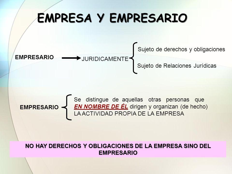 NO HAY DERECHOS Y OBLIGACIONES DE LA EMPRESA SINO DEL EMPRESARIO