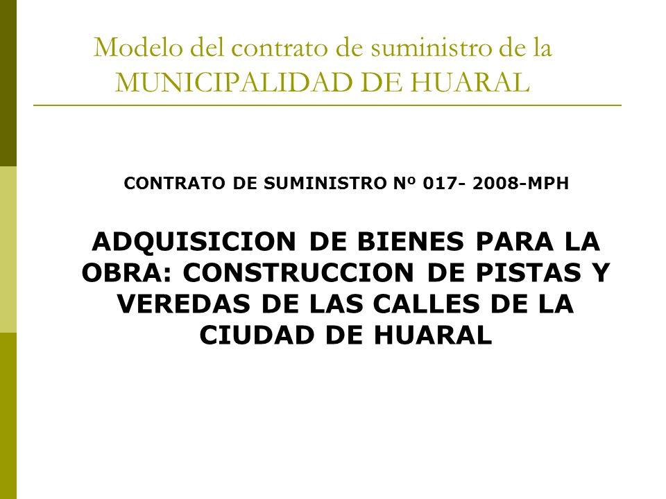 Modelo del contrato de suministro de la MUNICIPALIDAD DE HUARAL