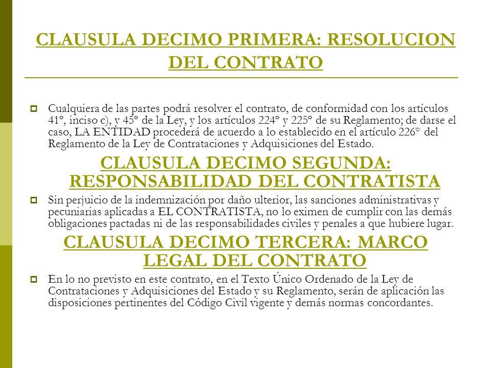 CLAUSULA DECIMO PRIMERA: RESOLUCION DEL CONTRATO