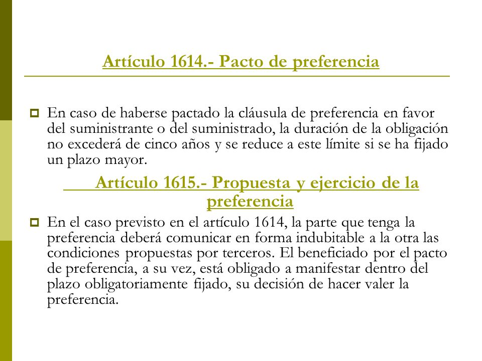 Artículo 1614.- Pacto de preferencia