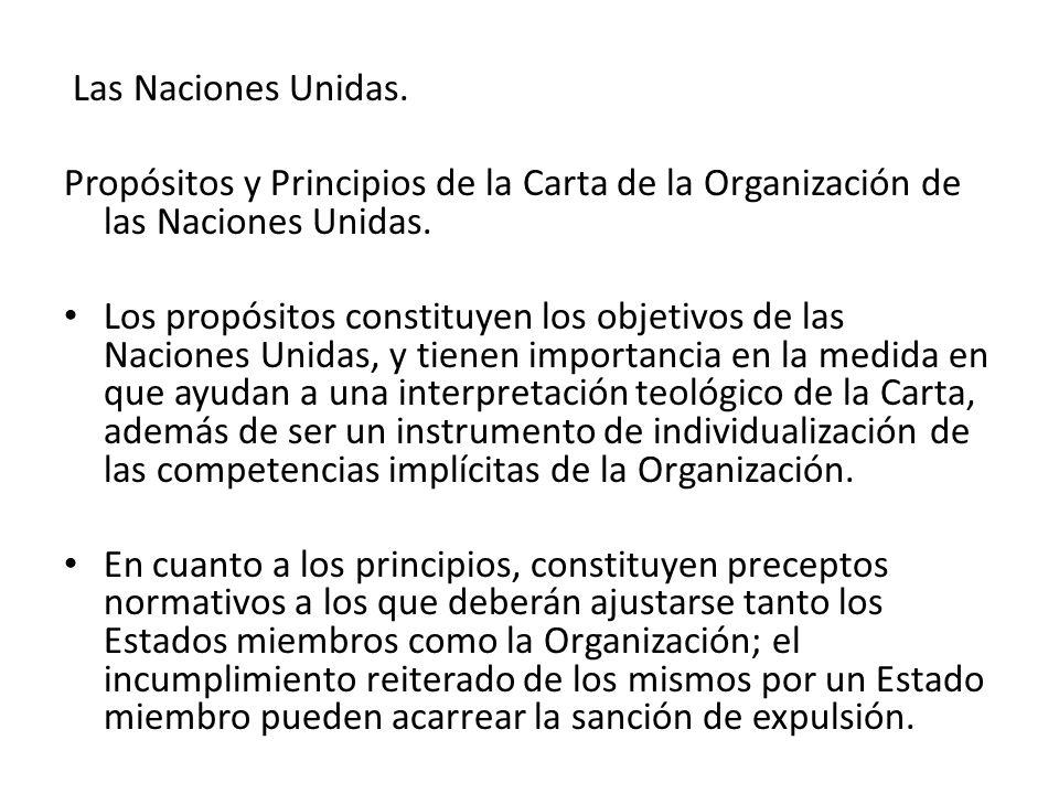 Las Naciones Unidas. Propósitos y Principios de la Carta de la Organización de las Naciones Unidas.