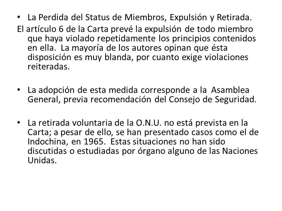 La Perdida del Status de Miembros, Expulsión y Retirada.