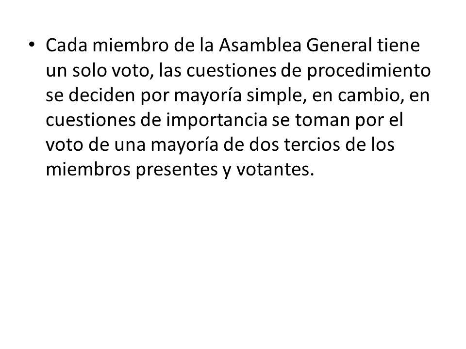 Cada miembro de la Asamblea General tiene un solo voto, las cuestiones de procedimiento se deciden por mayoría simple, en cambio, en cuestiones de importancia se toman por el voto de una mayoría de dos tercios de los miembros presentes y votantes.