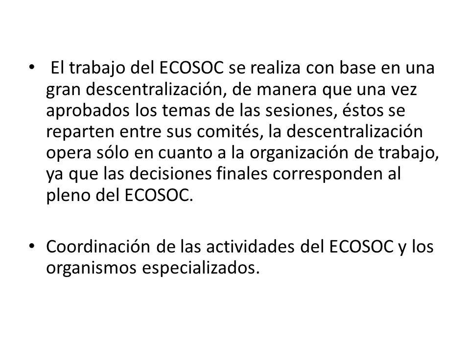 El trabajo del ECOSOC se realiza con base en una gran descentralización, de manera que una vez aprobados los temas de las sesiones, éstos se reparten entre sus comités, la descentralización opera sólo en cuanto a la organización de trabajo, ya que las decisiones finales corresponden al pleno del ECOSOC.