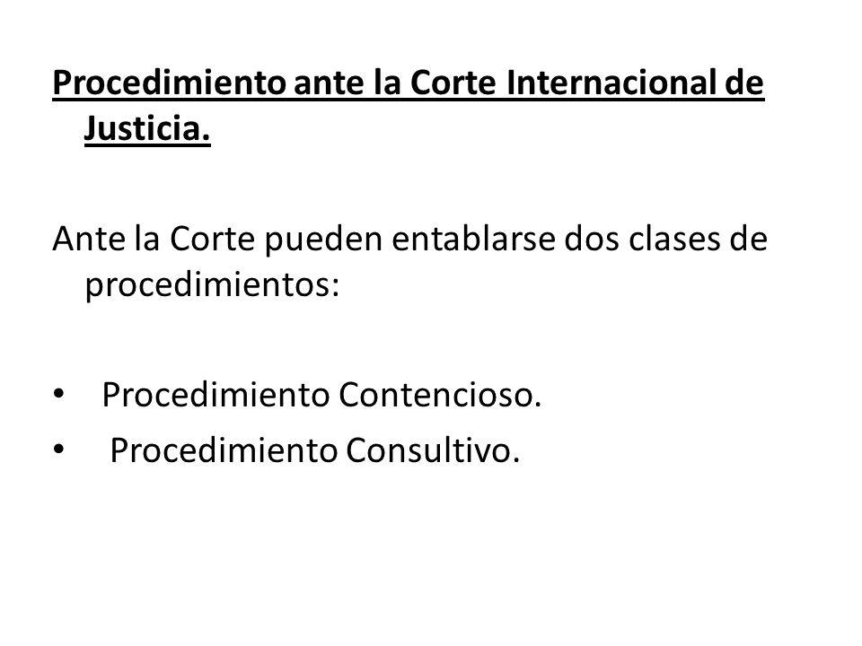 Procedimiento ante la Corte Internacional de Justicia.