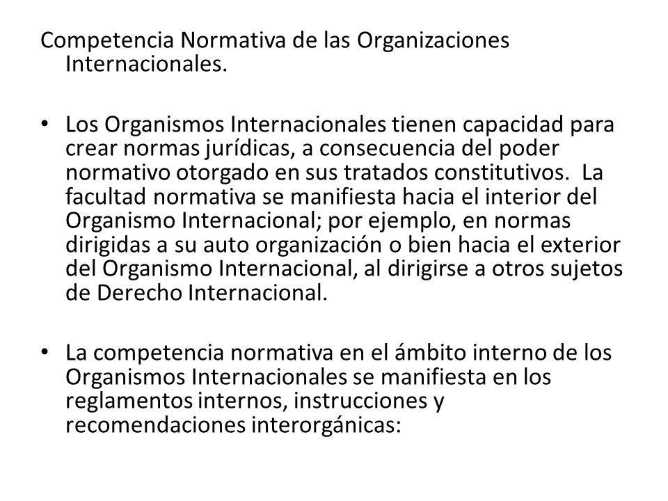 Competencia Normativa de las Organizaciones Internacionales.
