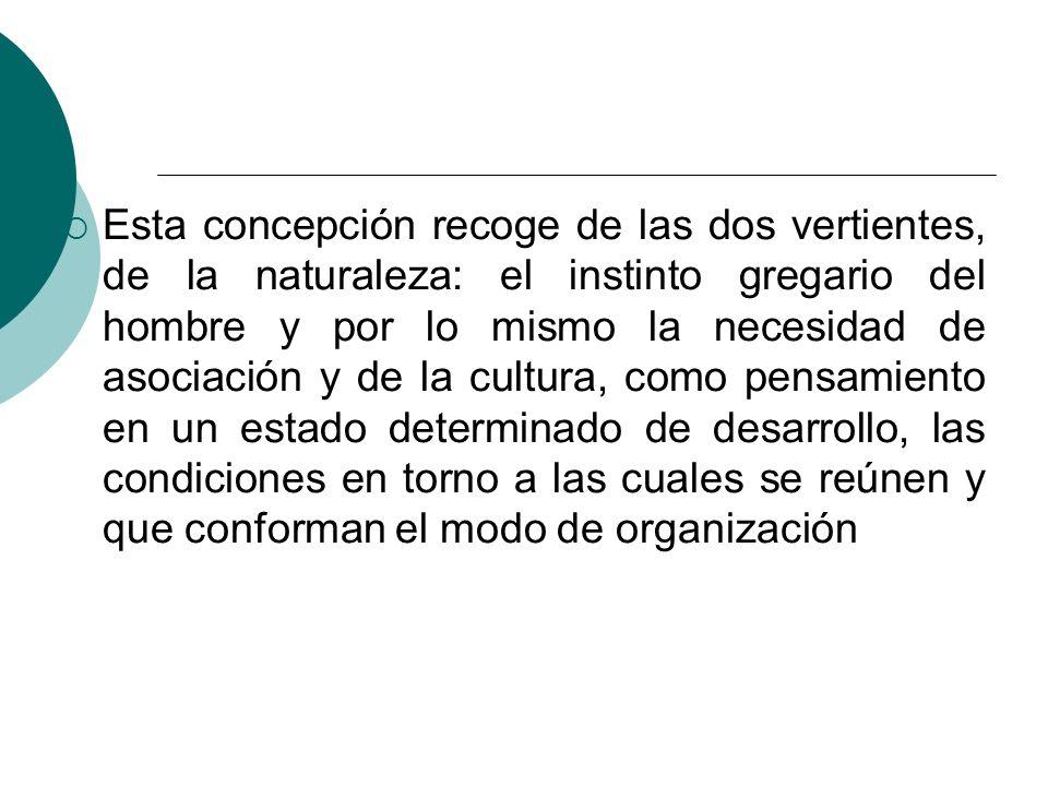 Esta concepción recoge de las dos vertientes, de la naturaleza: el instinto gregario del hombre y por lo mismo la necesidad de asociación y de la cultura, como pensamiento en un estado determinado de desarrollo, las condiciones en torno a las cuales se reúnen y que conforman el modo de organización