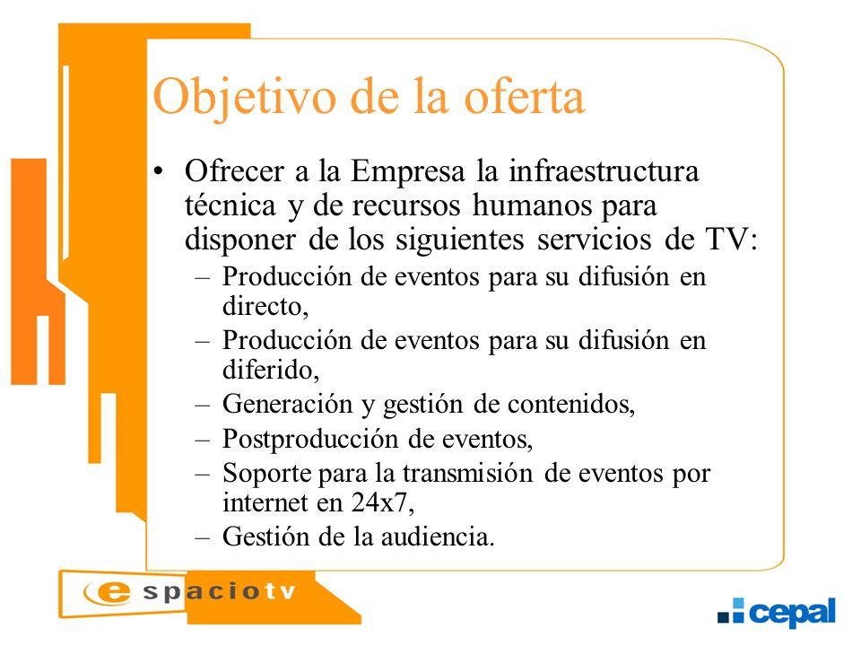 Objetivo de la oferta Ofrecer a la Empresa la infraestructura técnica y de recursos humanos para disponer de los siguientes servicios de TV: