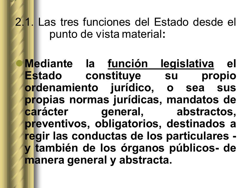 2.1. Las tres funciones del Estado desde el punto de vista material:
